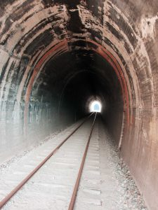 Rail Tracks in Tunnel