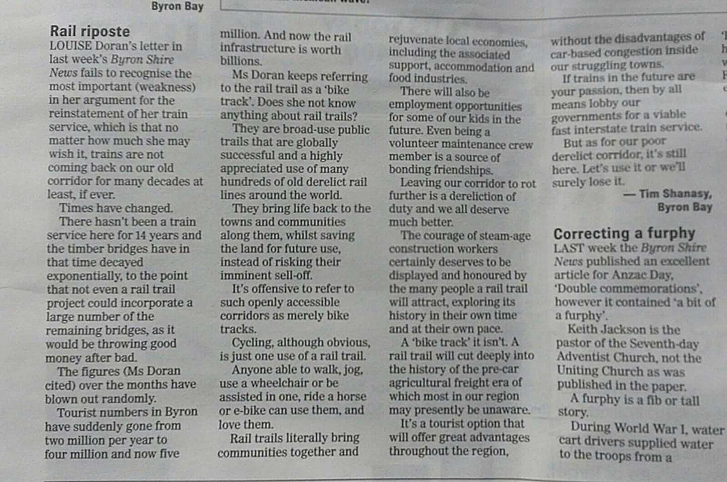 scan of a letter to Bryon Bay News about benefits of a Rail Trail