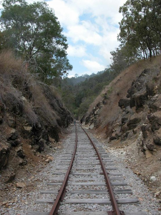 rail line Through a cutting