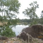 BurnettRiver Granite Boulder foreground Gayndah