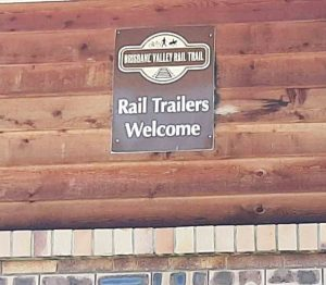 """sign on wall at Esk Motel """"Rail Trailers Welcome"""""""