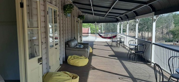 wide verandahs upstairs at Linville Hotel